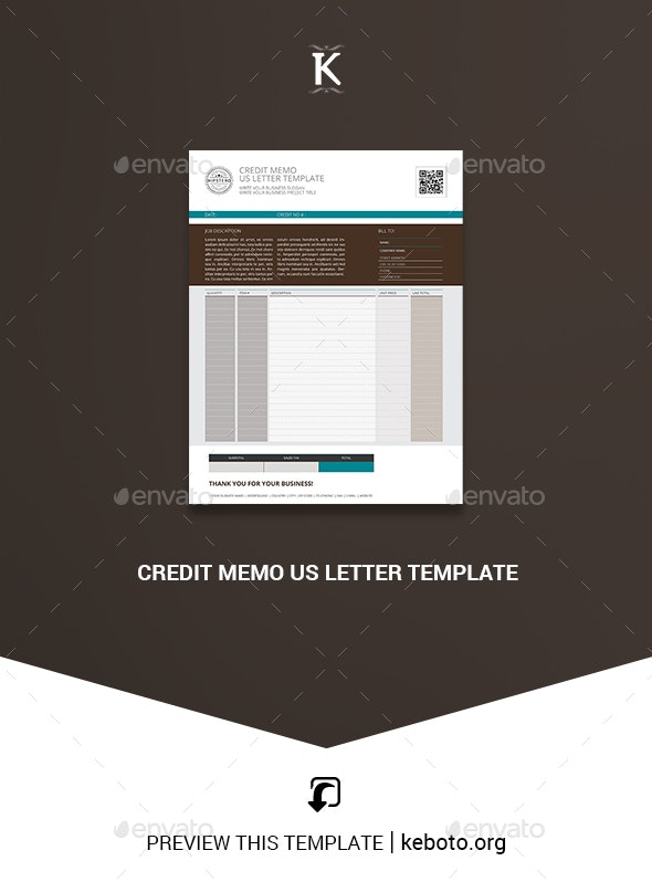 Credit Memo US Letter Template - Miscellaneous Print Templates