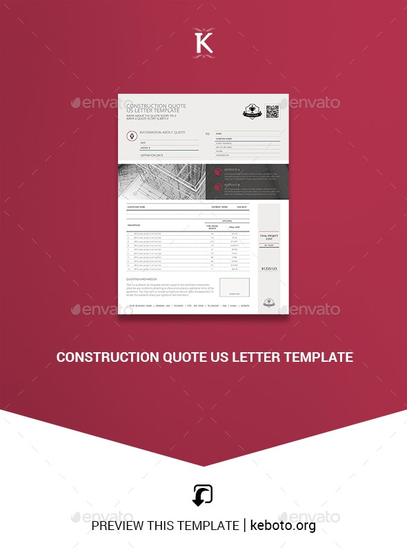 Construction Quote US Letter Template - Miscellaneous Print Templates
