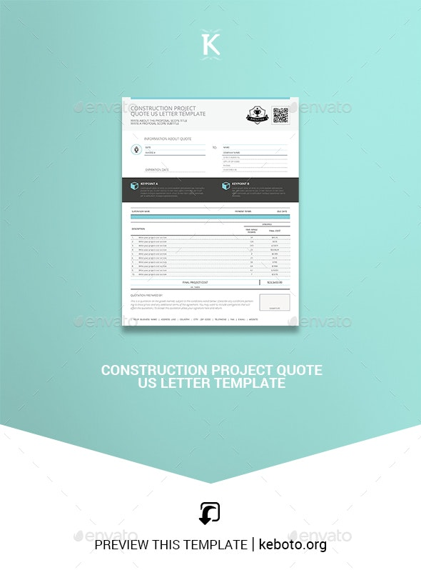 Construction Project Quote US Letter Template - Miscellaneous Print Templates