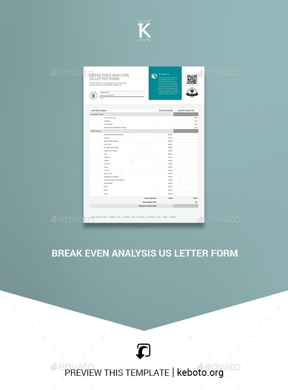 Break Even Analysis US Letter Form - Miscellaneous Print Templates