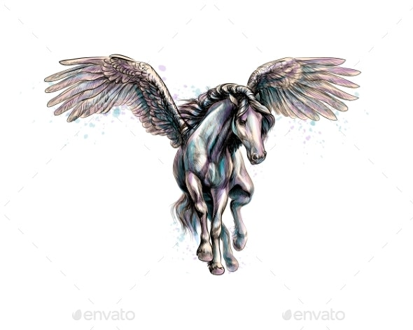 Pegasus Mythical Winged Horse - Animals Characters