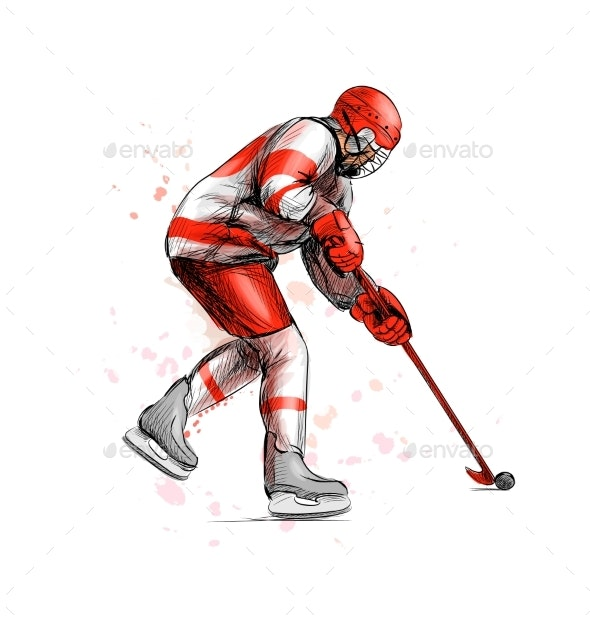 Abstract Hockey Player From Splash of Watercolors - Sports/Activity Conceptual