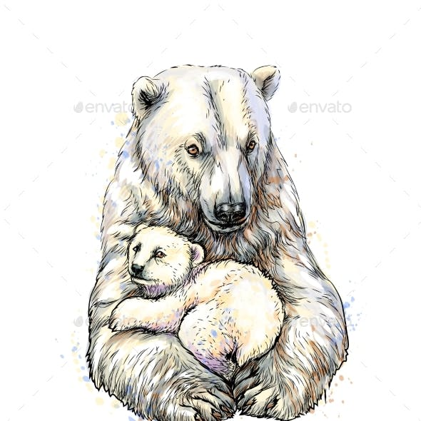 Polar Bear with Cub From a Splash of Watercolor