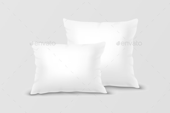 Vector Realistic White Pillow Set Closeup - Man-made Objects Objects