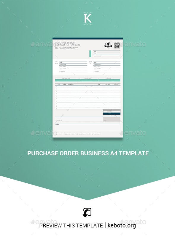 Purchase Order Business A4 Template - Miscellaneous Print Templates