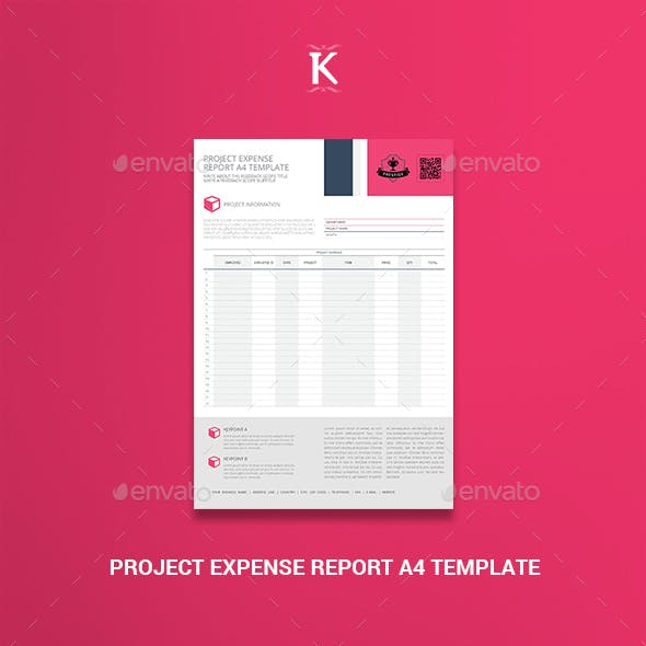 Project Expense Report A4 Template