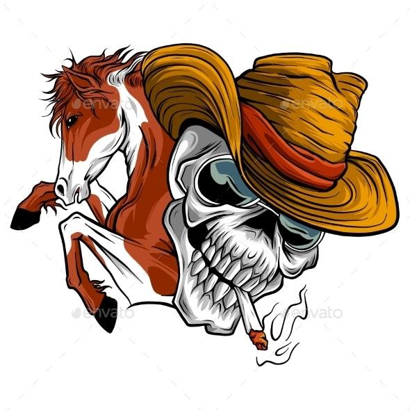 Vector Illustration Skull Cowboy Ride a Horse - Animals Characters