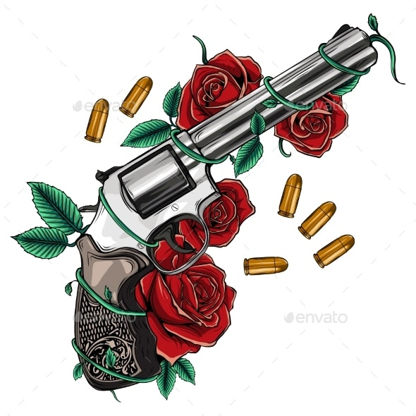 Pair of Crossed Guns and Rose Flowers Drawn - Flowers & Plants Nature