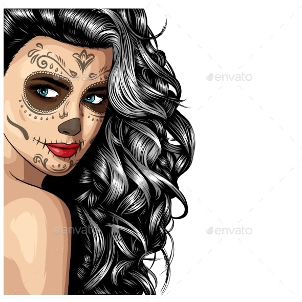 Girl with Skeleton Make Up Hand Drawn Vector - Miscellaneous Vectors