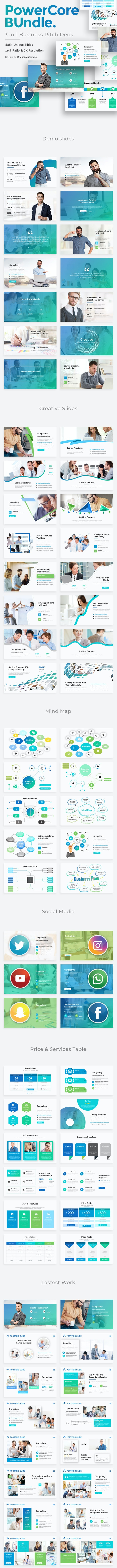 PowerCore 3 in 1 Pitch Deck Bundle Powerpoint Template - Creative PowerPoint Templates