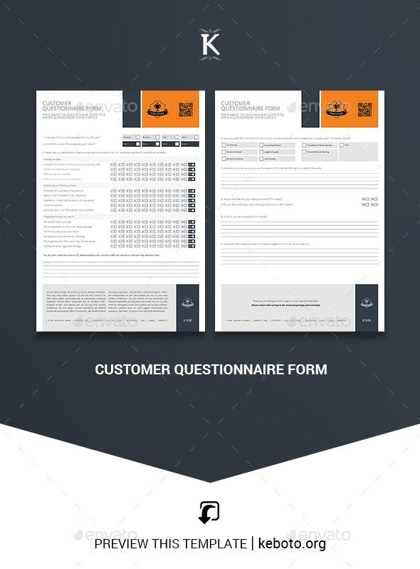 Customer Questionnaire Form - Miscellaneous Print Templates