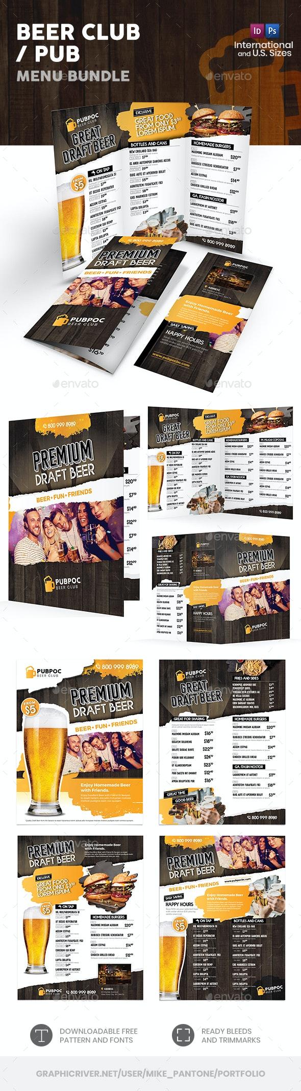 Beer Club / Pub Menu Print Bundle - Food Menus Print Templates
