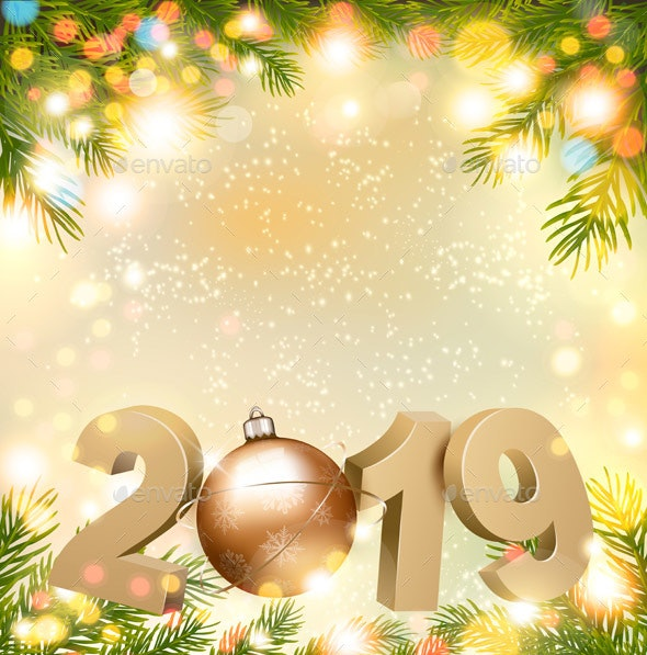 Merry Christmas Background with 2019 - New Year Seasons/Holidays