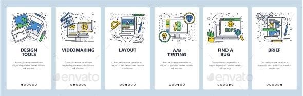 Vector Web Site Linear Art Onboarding Screens - Web Elements Vectors