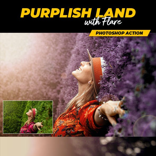 Purplish Land with Flare - Photoshop Action