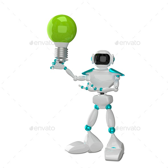 3D Illustration White Robot with Green - Technology 3D Renders