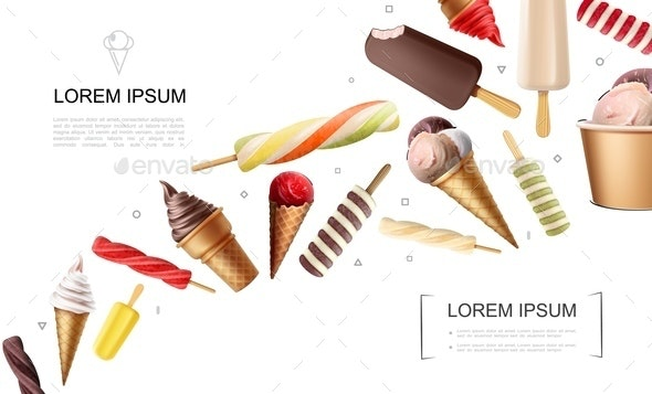 Realistic Ice Cream Concept - Food Objects