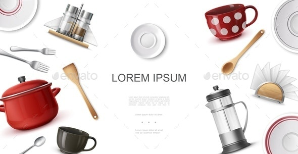Realistic Kitchenware Colorful Template - Food Objects