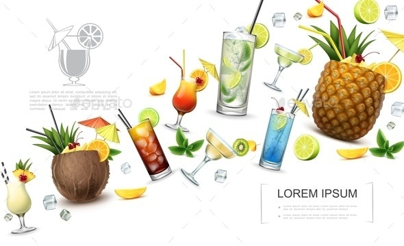 Realistic Alcoholic Drinks Concept - Food Objects