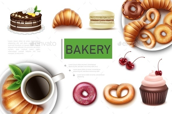 Realistic Bakery And Sweet Products Concept - Food Objects