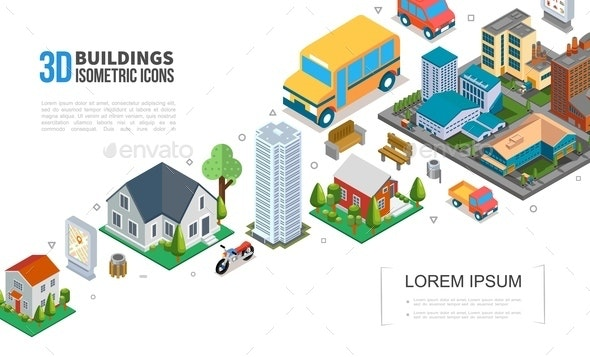 Isometric Cityscape Elements Collection - Buildings Objects