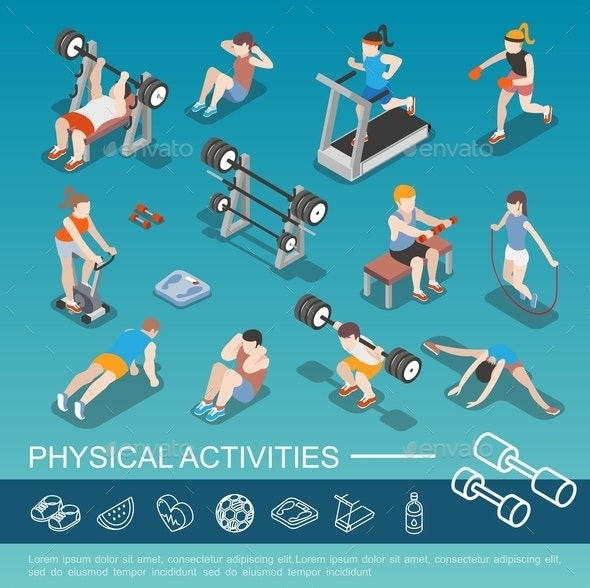 Isometric People In Gym Collection - People Characters