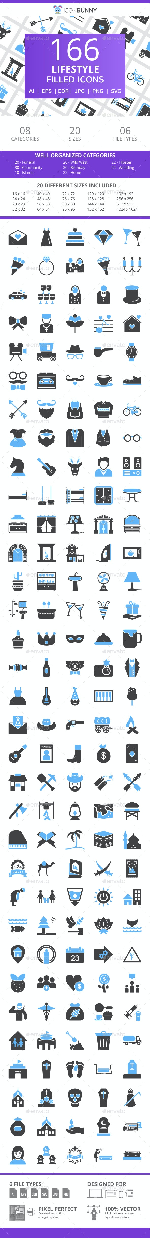 166 Lifestyle Filled Blue & Black Icons - Icons