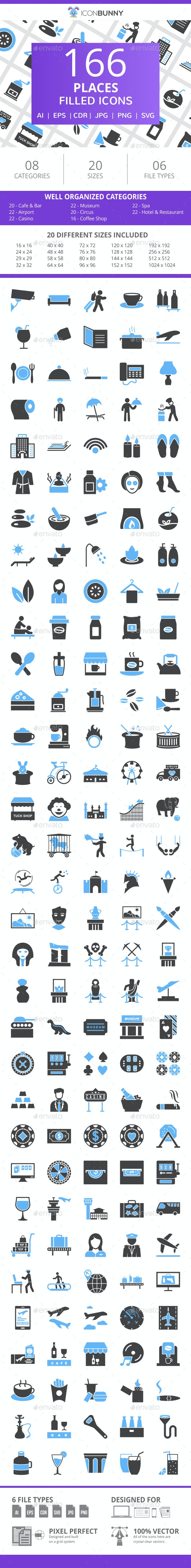 166 Places Filled Blue & Black Icons - Icons