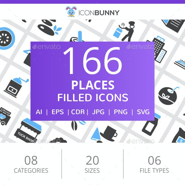 166 Places Filled Blue & Black Icons