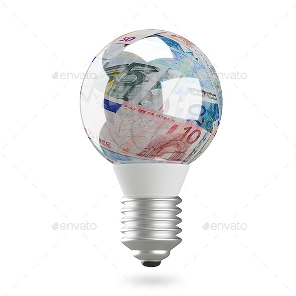 3D Illustration of a Lamp with Euro - Technology 3D Renders