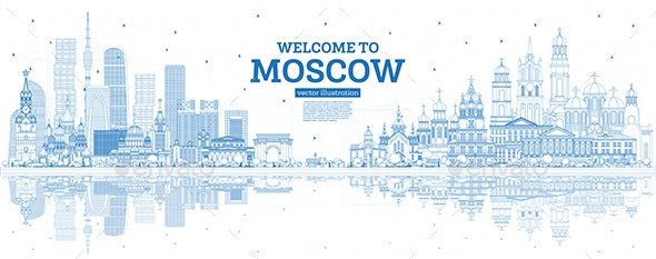 Outline Welcome to Moscow Russia Skyline - Buildings Objects
