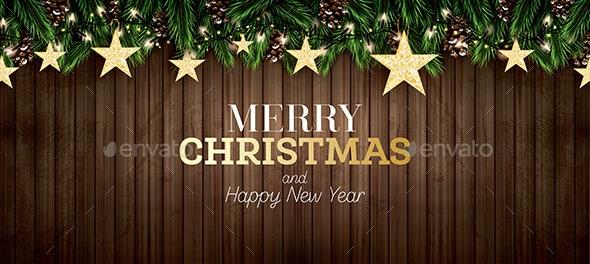Stars on Wooden Background - Christmas Seasons/Holidays