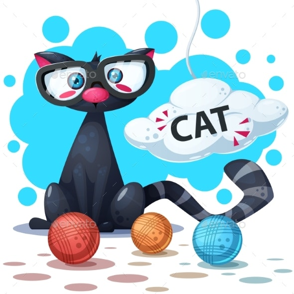 Cat Cartoon Characters. Clew Knitting. - Animals Characters
