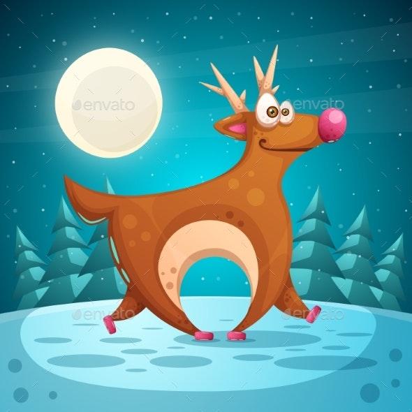Crazy Deer. Cartoon Winter Landscape. - Seasons/Holidays Conceptual