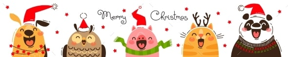 Happy Animals in Santa Hats - Christmas Seasons/Holidays