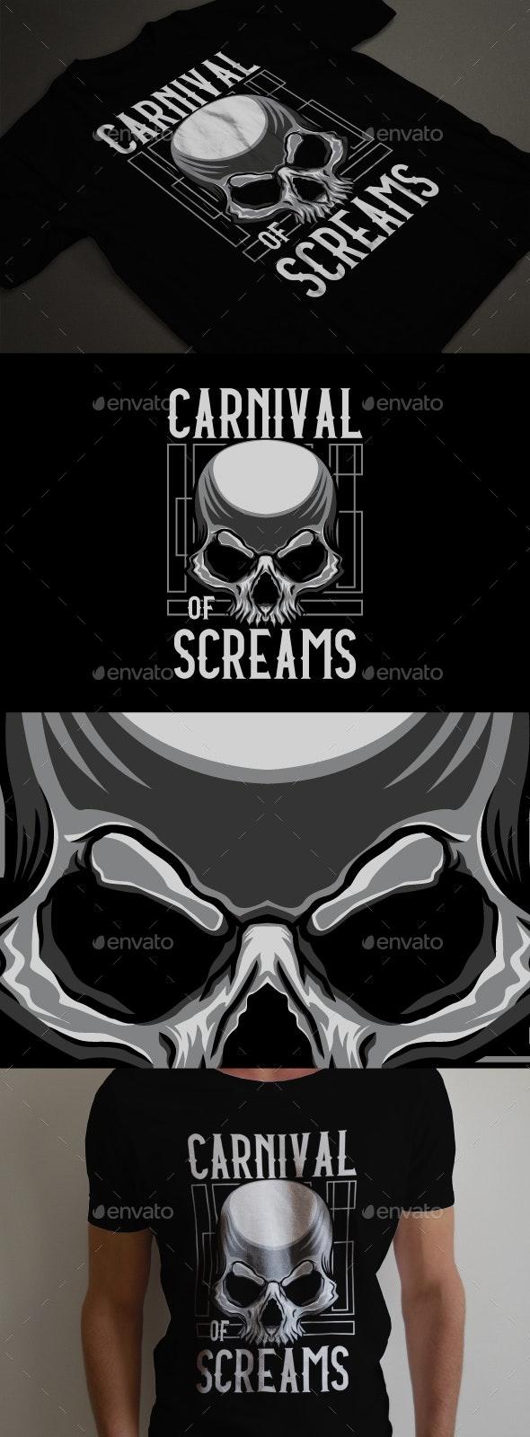 Skull carnival of scream t-shirt design template - T-Shirts