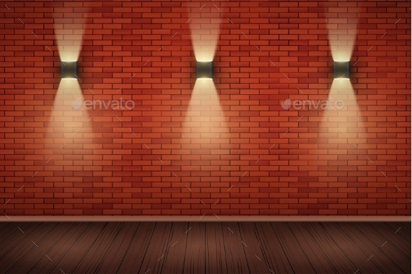 Brick Wall Room with Vintage Sconce Lamps - Backgrounds Decorative