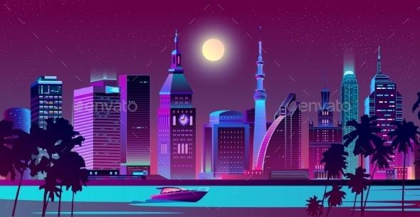 Modern City on Seashore Night Landscape Vector - Buildings Objects