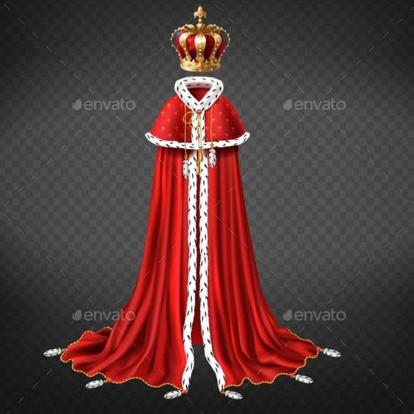 Monarch Crown and Garment Realistic Vector - Man-made Objects Objects
