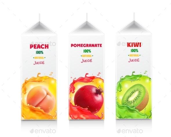 Juice Package Set Carton Juice Box - Food Objects