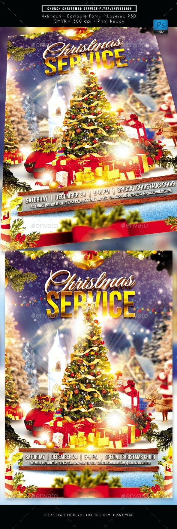 Church Christmas Service Flyer - Church Flyers