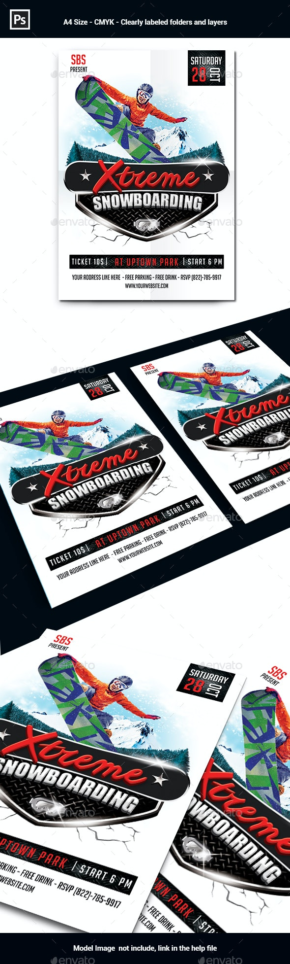 Extreme Snowboarding Flyer Template - Sports Events