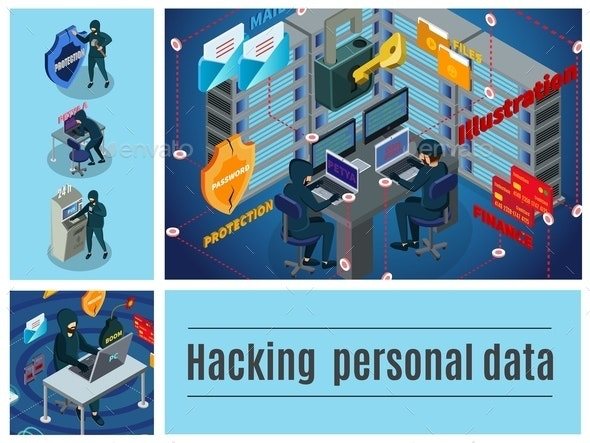 Isometric Hacker Activity Colorful Composition - People Characters