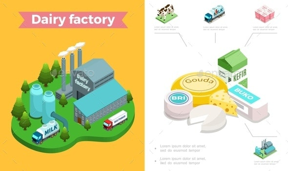 Isometric Dairy Industry Composition - Buildings Objects