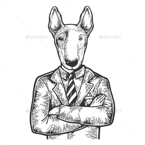 Bull Terrier Businessman Engraving Vector - Miscellaneous Characters