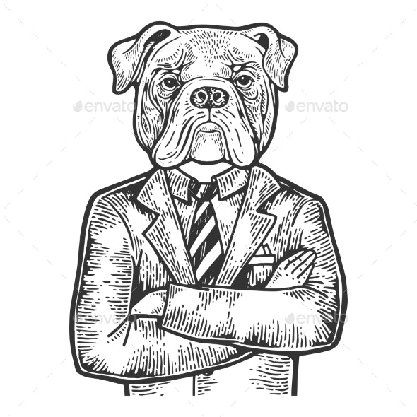 Bulldog Businessman Engraving Vector - Miscellaneous Characters