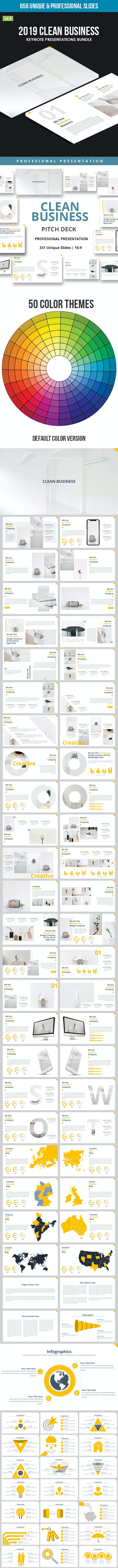2019 Clean Business Keynote Presentations Bundle - Business Keynote Templates