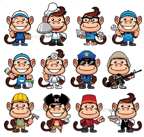 Monkey Occupations Set - Animals Characters