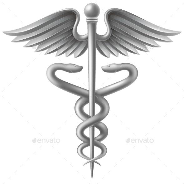 Silver Caduceus - Health/Medicine Conceptual