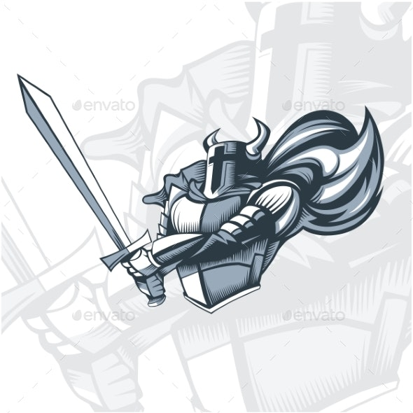 Monochrome Knight Before the Attack - Miscellaneous Vectors